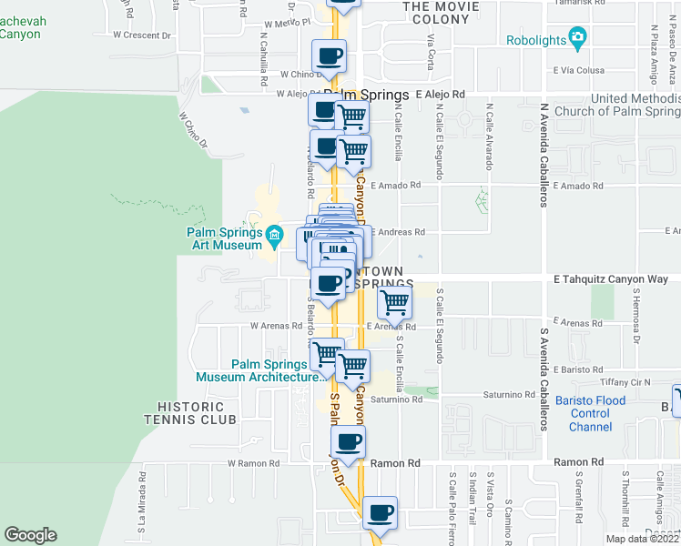 map of restaurants, bars, coffee shops, grocery stores, and more near 100 N Palm Canyon Dr in Palm Springs