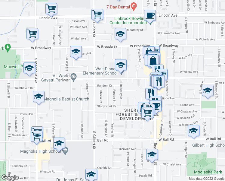 map of restaurants, bars, coffee shops, grocery stores, and more near 9591 Parade Street in Anaheim