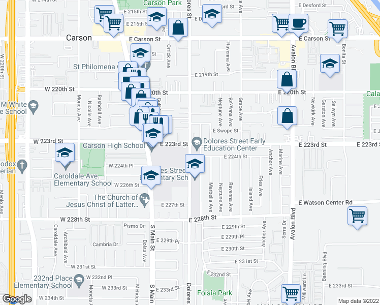 map of restaurants, bars, coffee shops, grocery stores, and more near Dolores Street in Carson