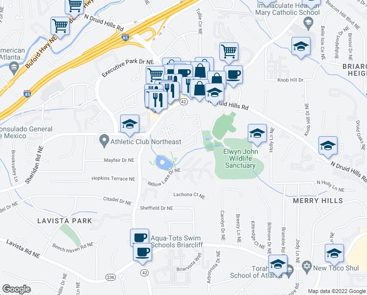 map of restaurants, bars, coffee shops, grocery stores, and more near 2503 Briarcliff Road Northeast in Atlanta
