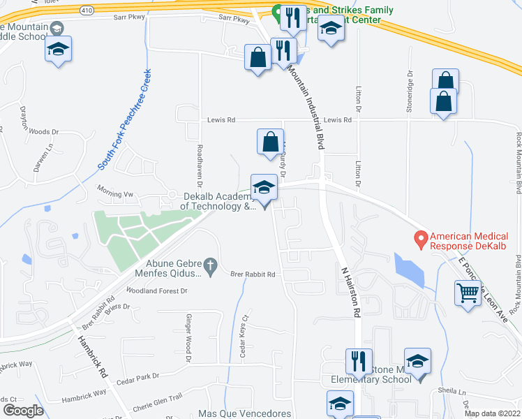 map of restaurants, bars, coffee shops, grocery stores, and more near 1504-1548 Kelton Drive in Stone Mountain