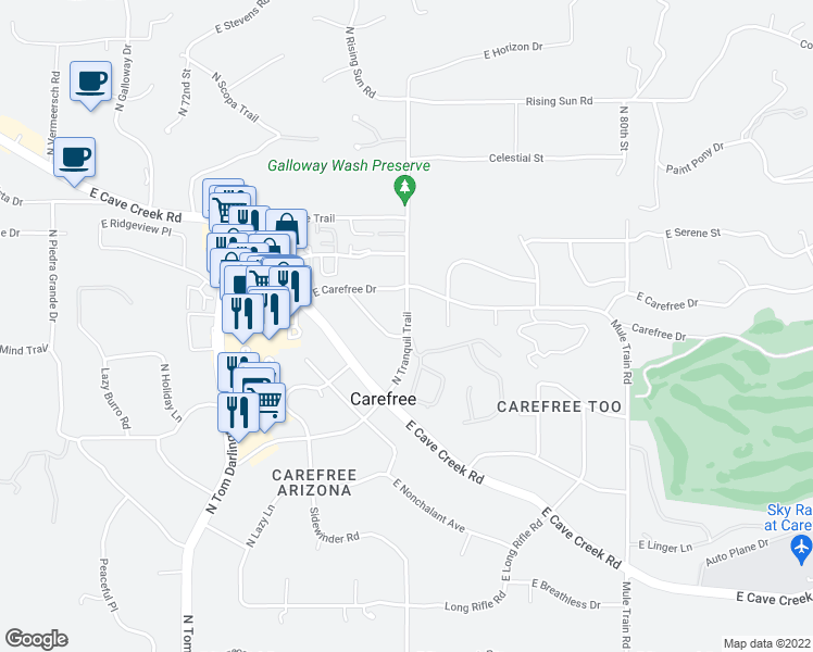 map of restaurants, bars, coffee shops, grocery stores, and more near North Tranquil Trail in Carefree