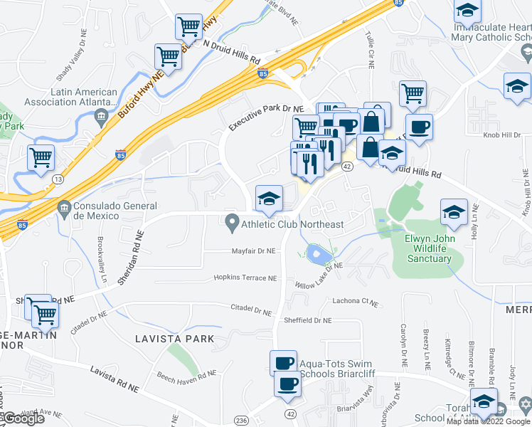 map of restaurants, bars, coffee shops, grocery stores, and more near 1570 Sheridan Road Northeast in Atlanta