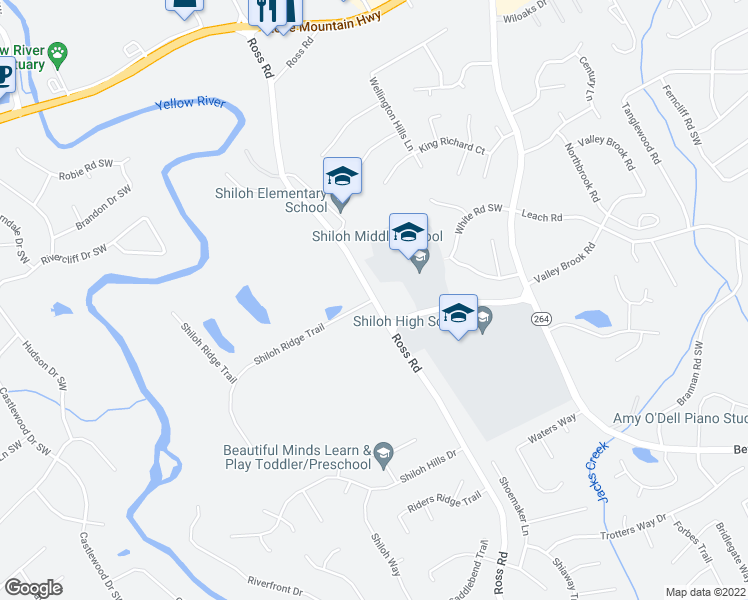 map of restaurants, bars, coffee shops, grocery stores, and more near 2490 Ross Road in Snellville