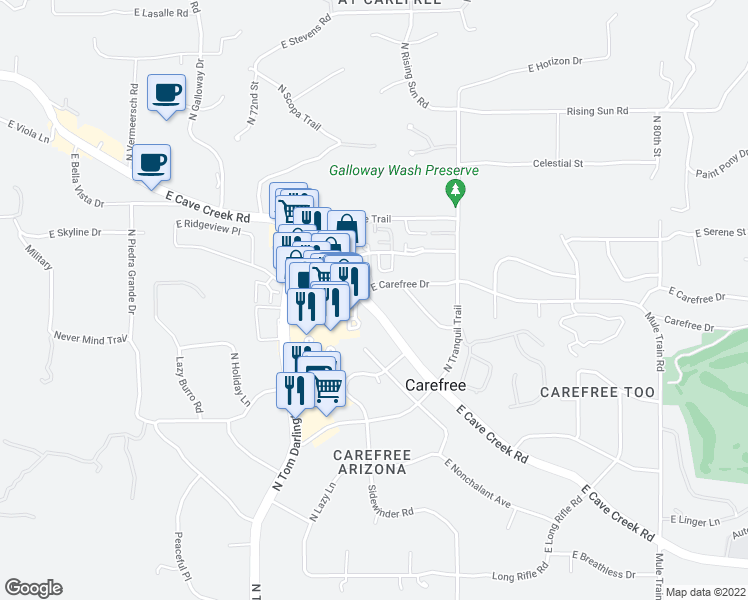 map of restaurants, bars, coffee shops, grocery stores, and more near 7402 East Carefree Drive in Carefree