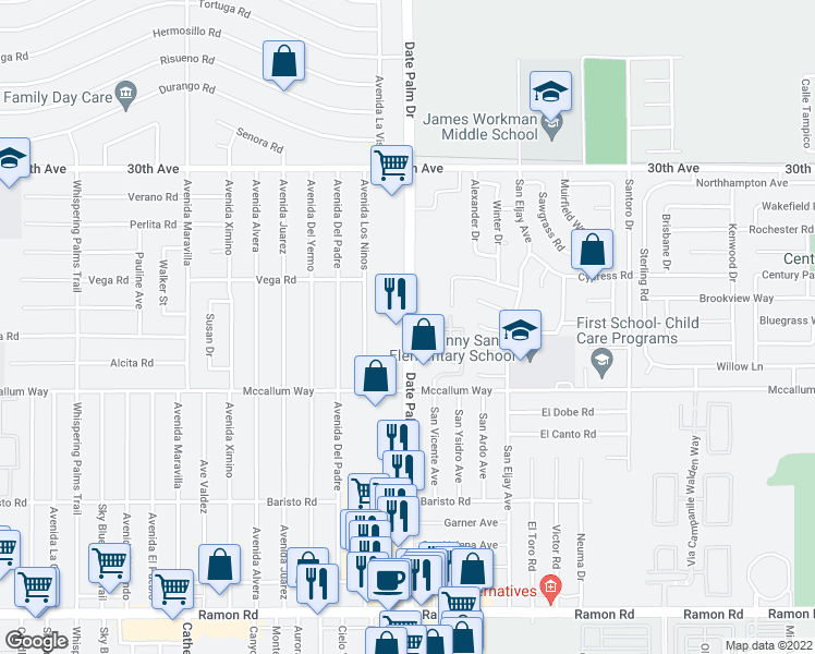 map of restaurants, bars, coffee shops, grocery stores, and more near 30855 Date Palm Drive in Cathedral City