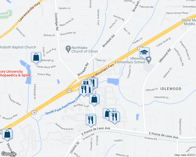 map of restaurants, bars, coffee shops, grocery stores, and more near Stone Mountain Freeway in Clarkston