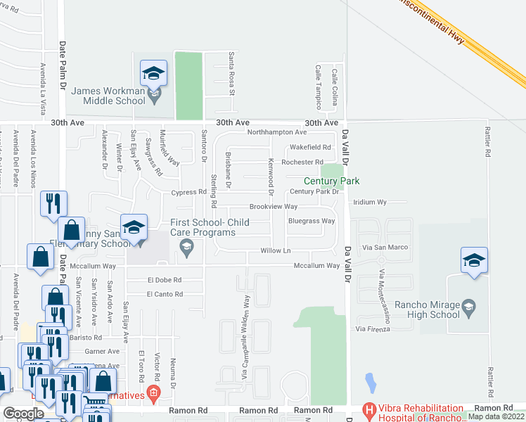map of restaurants, bars, coffee shops, grocery stores, and more near 69725 Brookview Way in Cathedral City