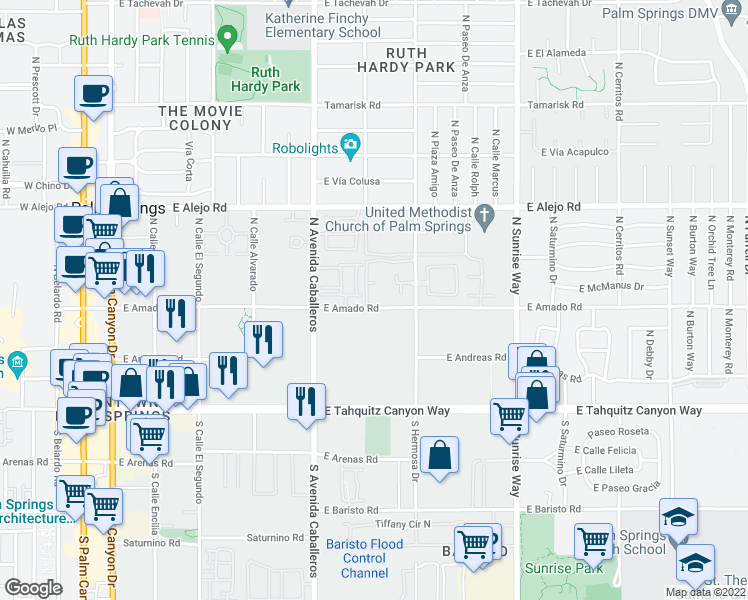 map of restaurants, bars, coffee shops, grocery stores, and more near 1100 East Amado Road in Palm Springs