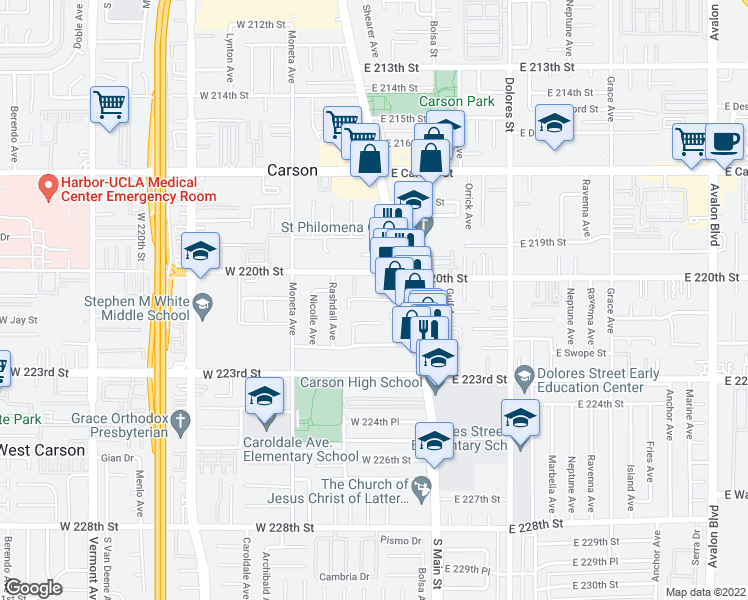 map of restaurants, bars, coffee shops, grocery stores, and more near 22031 South Main Street in Carson
