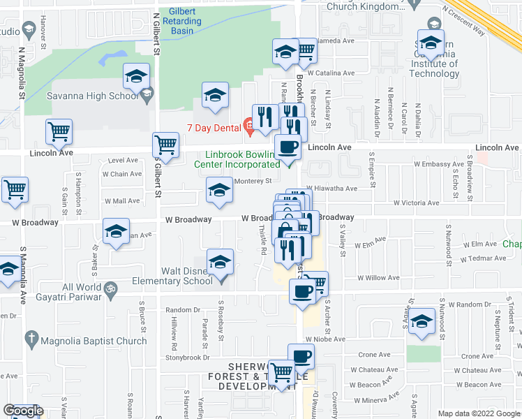 map of restaurants, bars, coffee shops, grocery stores, and more near 2235 West Broadway in Anaheim