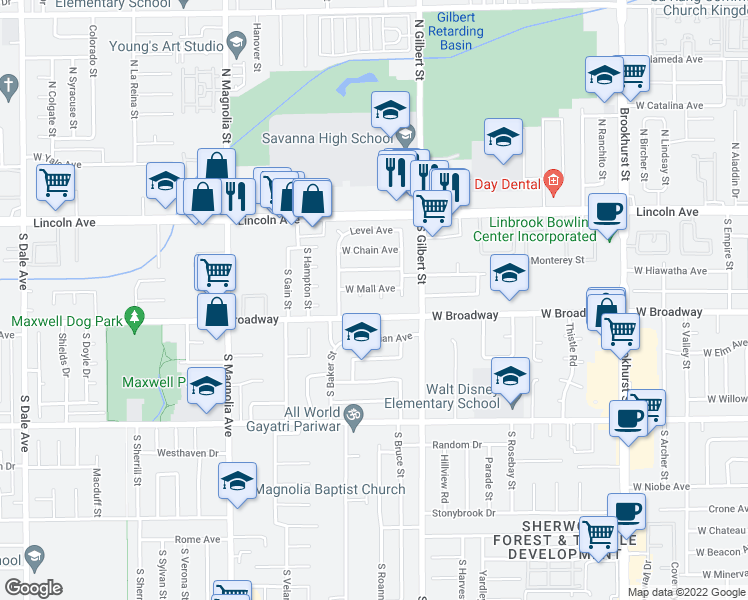 map of restaurants, bars, coffee shops, grocery stores, and more near 225 S Mall Pl in Anaheim