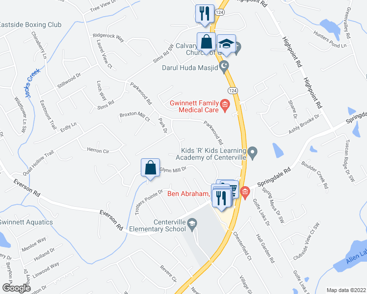 map of restaurants, bars, coffee shops, grocery stores, and more near 3075-3085 Dove Chase Court in Snellville