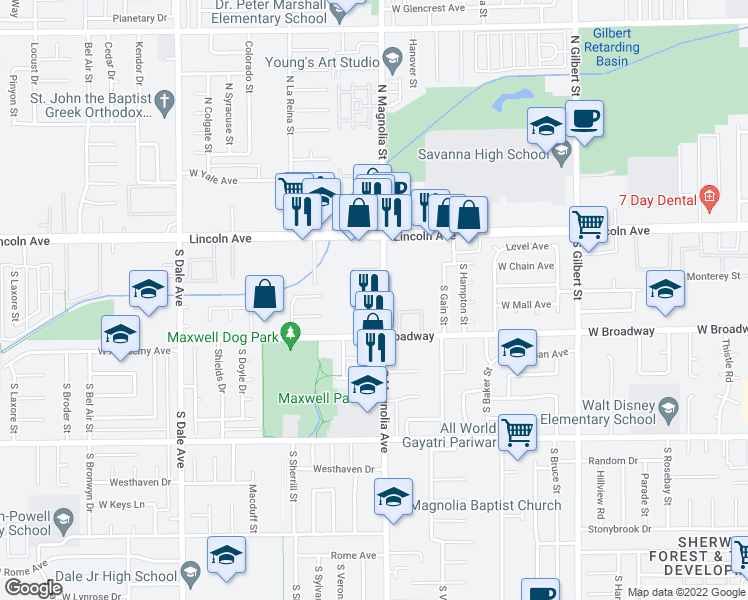 map of restaurants, bars, coffee shops, grocery stores, and more near 200 South Magnolia Avenue in Anaheim