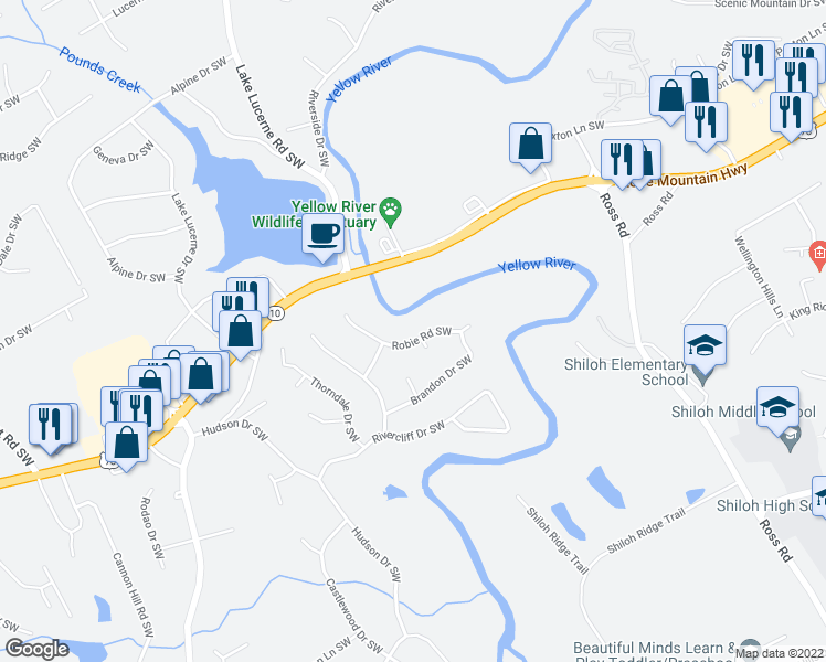map of restaurants, bars, coffee shops, grocery stores, and more near 4557 Robie Road Southwest in Lilburn
