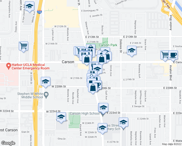 map of restaurants, bars, coffee shops, grocery stores, and more near 126 West 219th Street in Carson