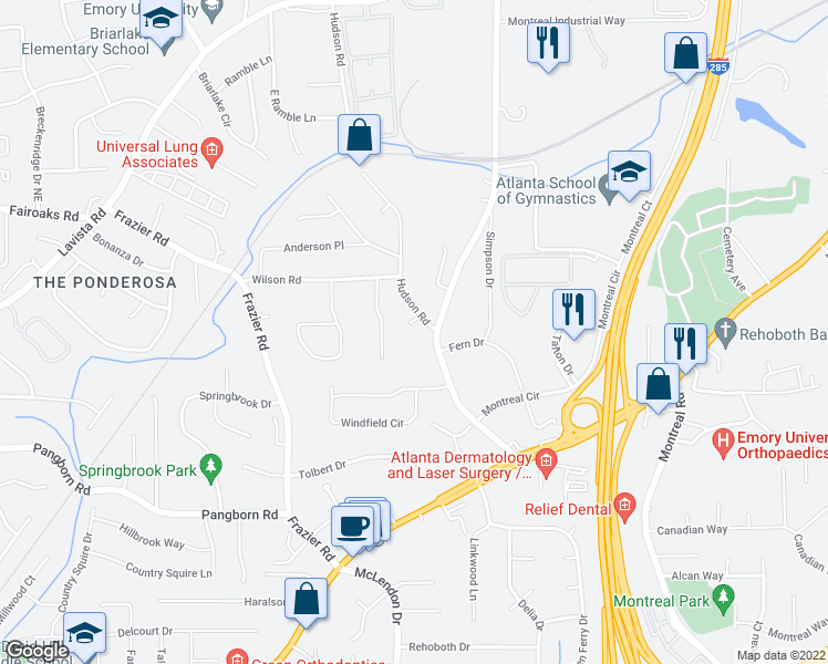 map of restaurants, bars, coffee shops, grocery stores, and more near 3141 Bomar Forest Place in Decatur