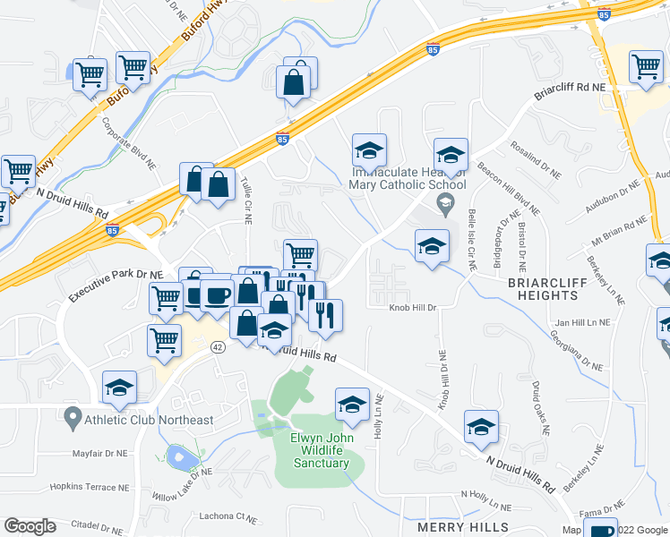 map of restaurants, bars, coffee shops, grocery stores, and more near 7000 Briarcliff Gables Circle Northeast in Atlanta