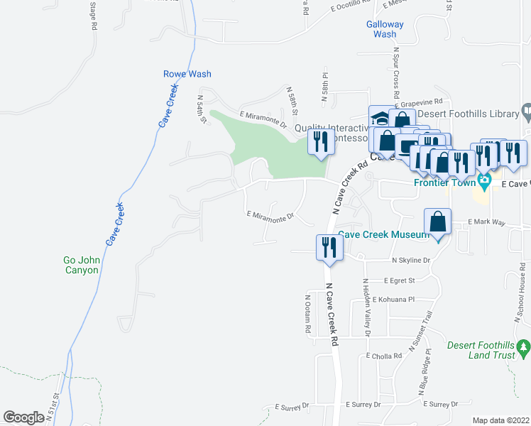 map of restaurants, bars, coffee shops, grocery stores, and more near 5640 East Miramonte Drive in Cave Creek