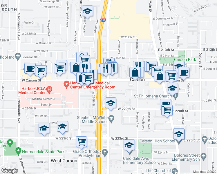 map of restaurants, bars, coffee shops, grocery stores, and more near 21710 Figueroa Street in Carson