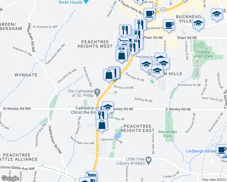 map of restaurants, bars, coffee shops, grocery stores, and more near 2795 Peachtree Road Northeast in Atlanta