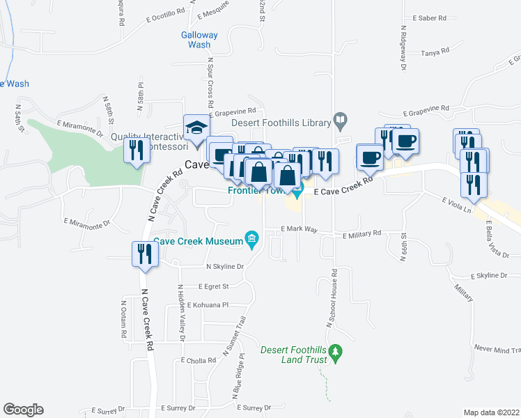 map of restaurants, bars, coffee shops, grocery stores, and more near 6145 East Cave Creek Road in Cave Creek