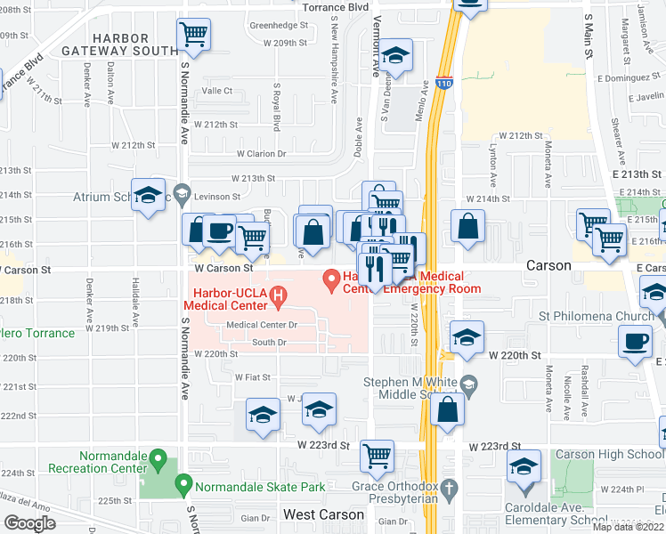 map of restaurants, bars, coffee shops, grocery stores, and more near in West Carson