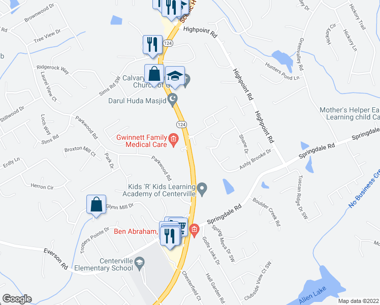 map of restaurants, bars, coffee shops, grocery stores, and more near 2975-3019 Centerville Highway in Snellville