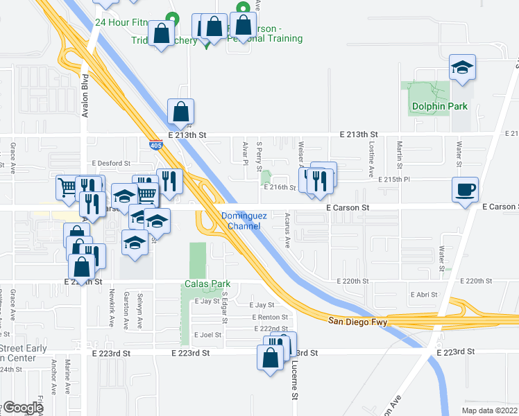 map of restaurants, bars, coffee shops, grocery stores, and more near East Carson Street & South Perry Street in Carson
