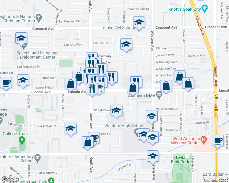 map of restaurants, bars, coffee shops, grocery stores, and more near 3230 Lincoln Avenue in Anaheim