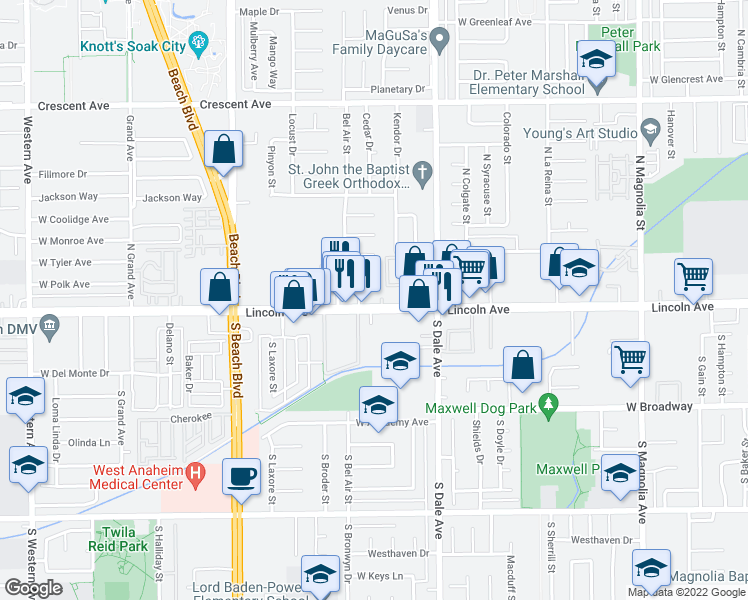 map of restaurants, bars, coffee shops, grocery stores, and more near 2861 West Lincoln Avenue in Anaheim