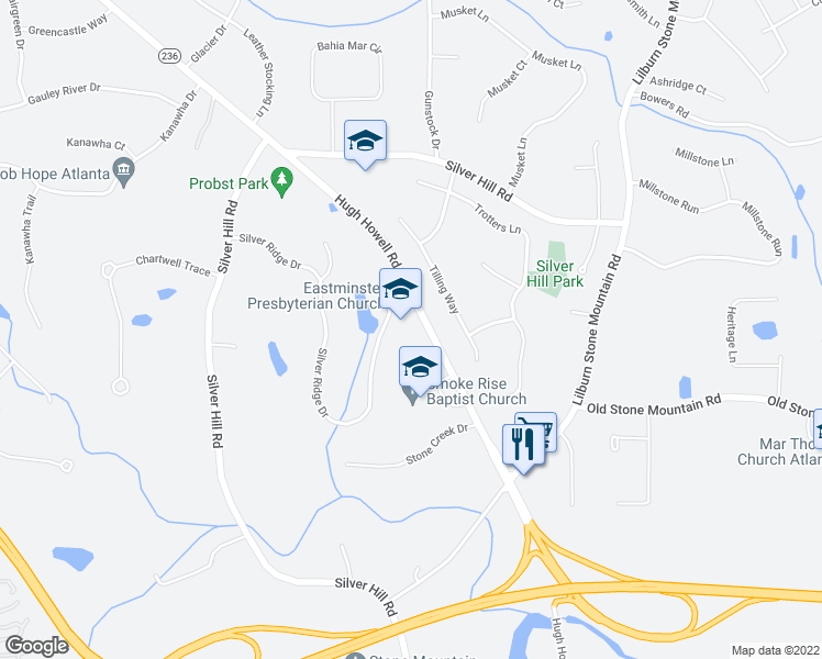map of restaurants, bars, coffee shops, grocery stores, and more near 5801 Hugh Howell Road in Stone Mountain