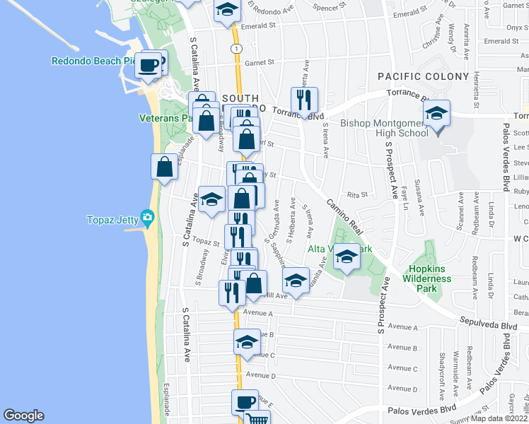 map of restaurants, bars, coffee shops, grocery stores, and more near 532 South Francisca Avenue in Redondo Beach