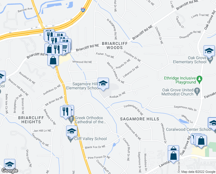 map of restaurants, bars, coffee shops, grocery stores, and more near 1768 Morris Landers Drive Northeast in Atlanta