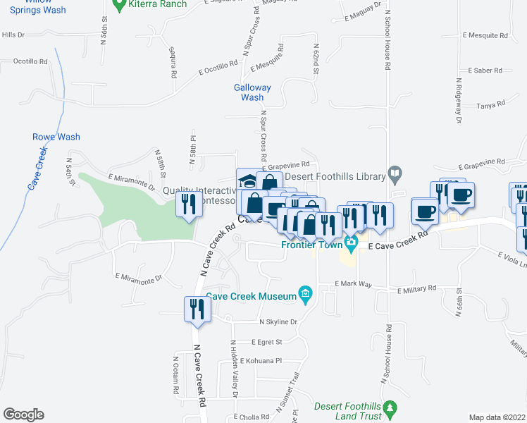 map of restaurants, bars, coffee shops, grocery stores, and more near 6022 East Cave Creek Road in Cave Creek