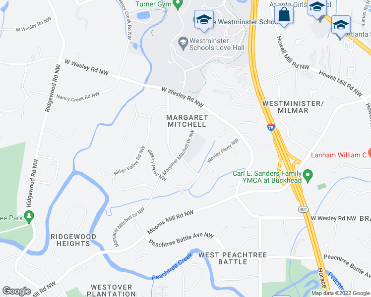 map of restaurants, bars, coffee shops, grocery stores, and more near 2812 Margaret Mitchell Drive Northwest in Atlanta