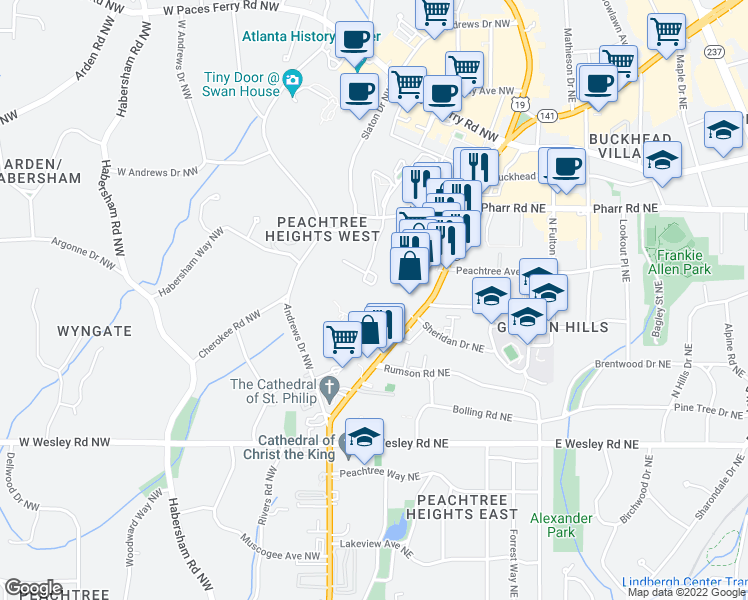map of restaurants, bars, coffee shops, grocery stores, and more near 2870 Pharr Court South Northwest in Atlanta