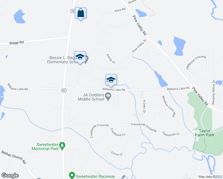 map of restaurants, bars, coffee shops, grocery stores, and more near 598 Williams Lake Road in Powder Springs