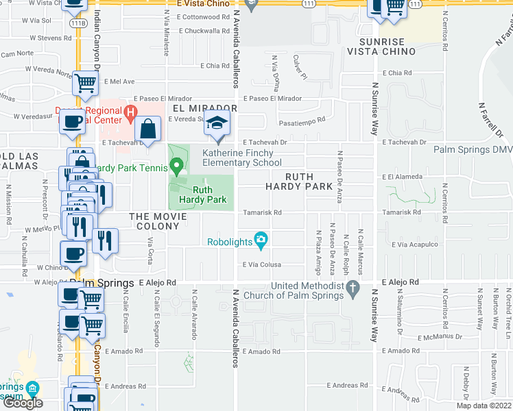 map of restaurants, bars, coffee shops, grocery stores, and more near 1050 Tamarisk Rd in Palm Springs