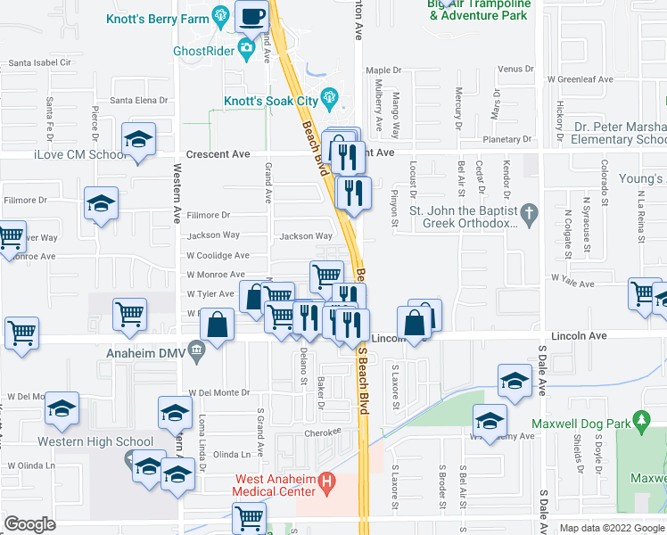 map of restaurants, bars, coffee shops, grocery stores, and more near 7897 Jackson Way in Buena Park