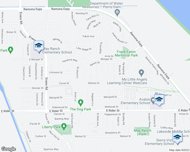 map of restaurants, bars, coffee shops, grocery stores, and more near 3470 Fieldcrest Court in Perris