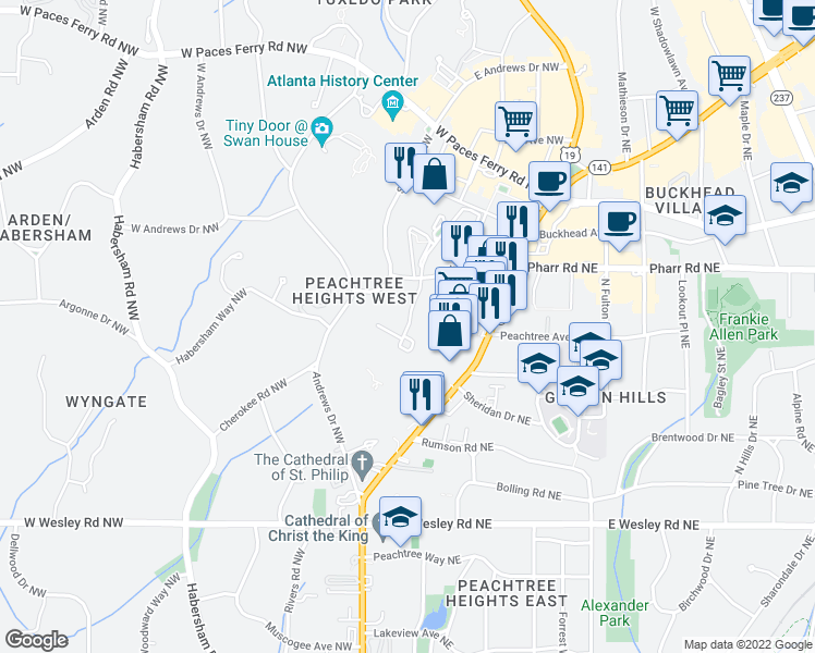 map of restaurants, bars, coffee shops, grocery stores, and more near 2801-2875 Pharr Court South Northwest in Atlanta