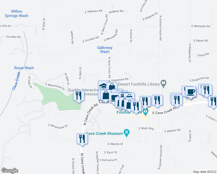map of restaurants, bars, coffee shops, grocery stores, and more near 6018 East Knolls Way in Cave Creek