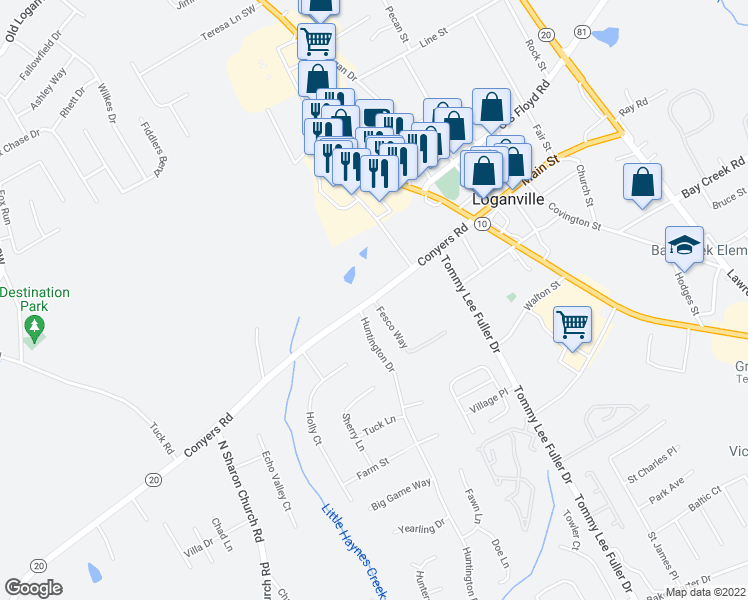 map of restaurants, bars, coffee shops, grocery stores, and more near 443 Conyers Road in Loganville
