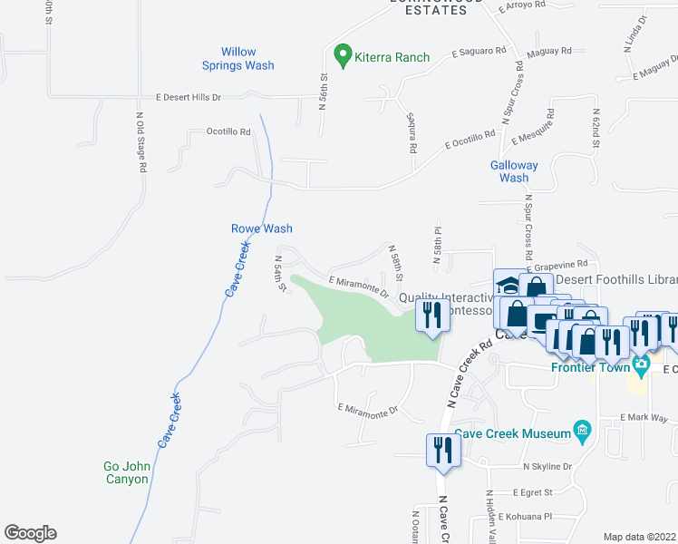 map of restaurants, bars, coffee shops, grocery stores, and more near 5547 East Sugarloaf Trail in Cave Creek