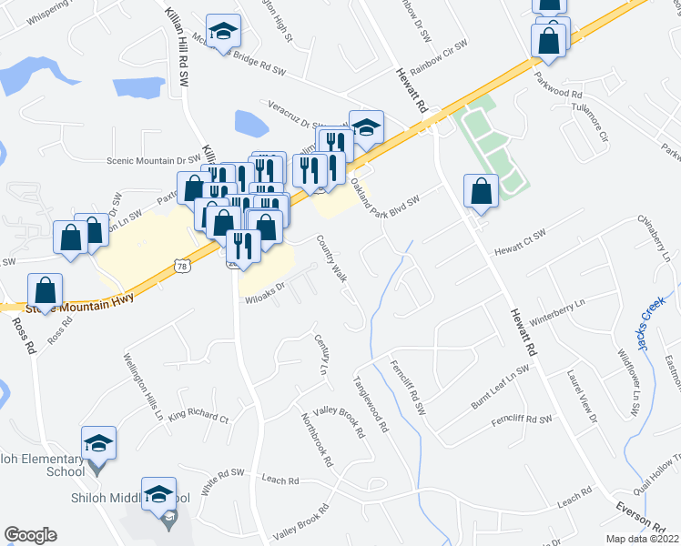 map of restaurants, bars, coffee shops, grocery stores, and more near 2300 Country Walk in Snellville