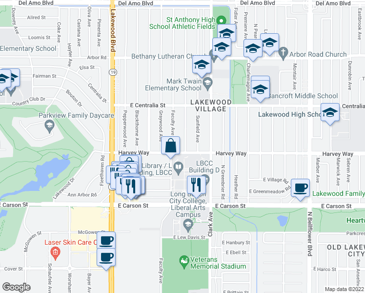 map of restaurants, bars, coffee shops, grocery stores, and more near 4315 Whitewood Avenue in Long Beach