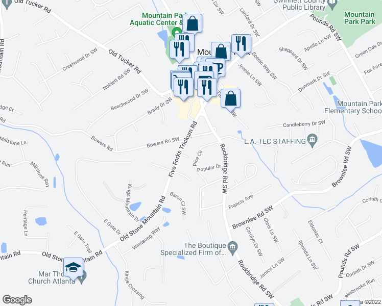 map of restaurants, bars, coffee shops, grocery stores, and more near 5503 Ryan Court Southwest in Stone Mountain