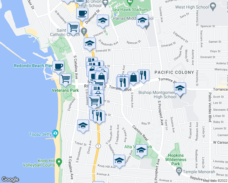 map of restaurants, bars, coffee shops, grocery stores, and more near 409 Sierra Vista Drive in Redondo Beach