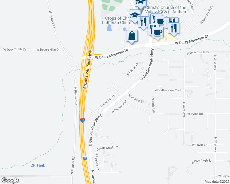 map of restaurants, bars, coffee shops, grocery stores, and more near 38818 North Red Tail Lane in New River